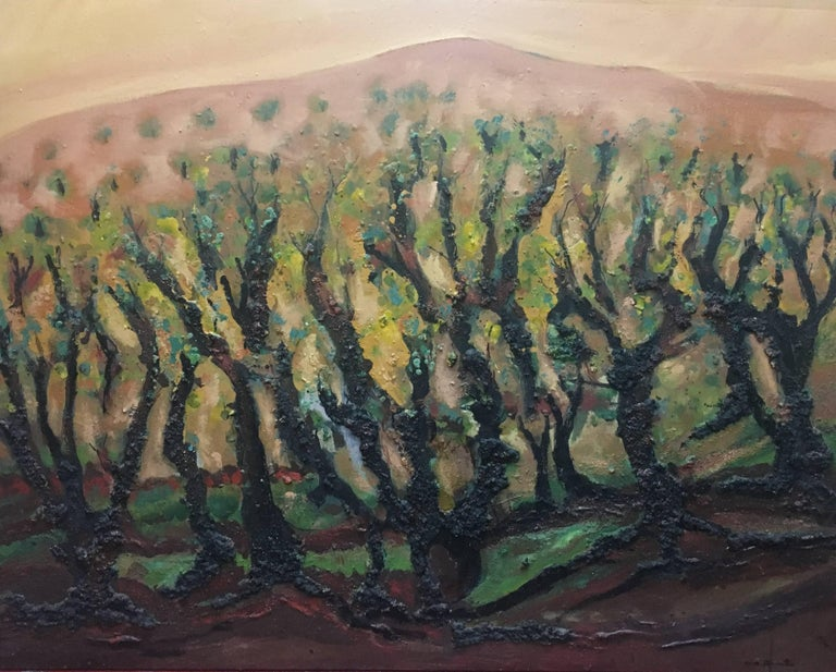 landscape of vineyar - original expressionist mixed media painting - Painting by Maria Asuncion Raventos