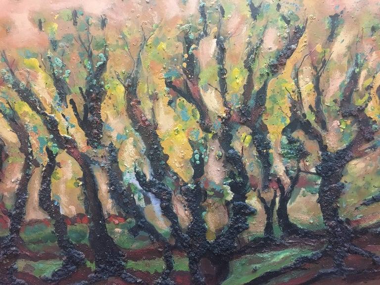 landscape of vineyar - original expressionist mixed media painting - Expressionist Painting by Maria Asuncion Raventos