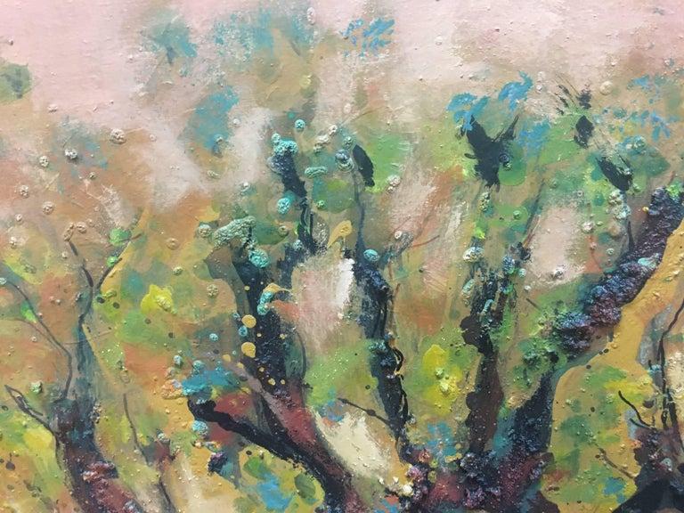 landscape of vineyar - original expressionist mixed media painting - Black Figurative Painting by Maria Asuncion Raventos