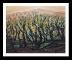 landscape of vineyar - original expressionist mixed media painting