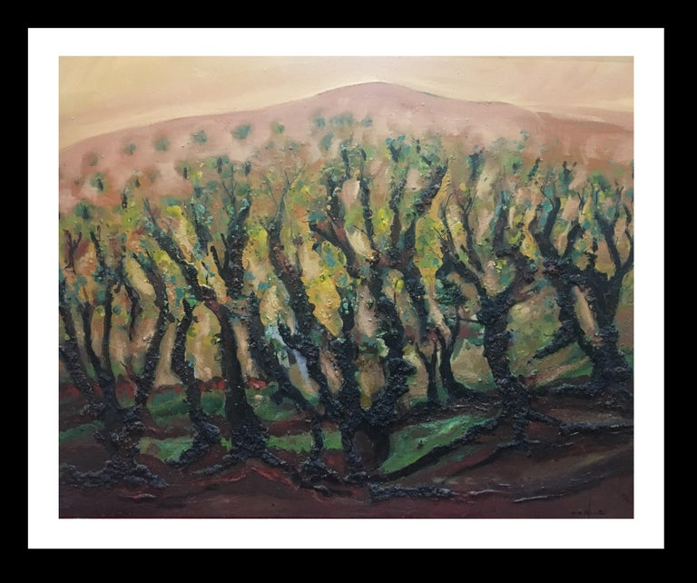 Maria Asuncion Raventos Figurative Painting - landscape of vineyar - original expressionist mixed media painting