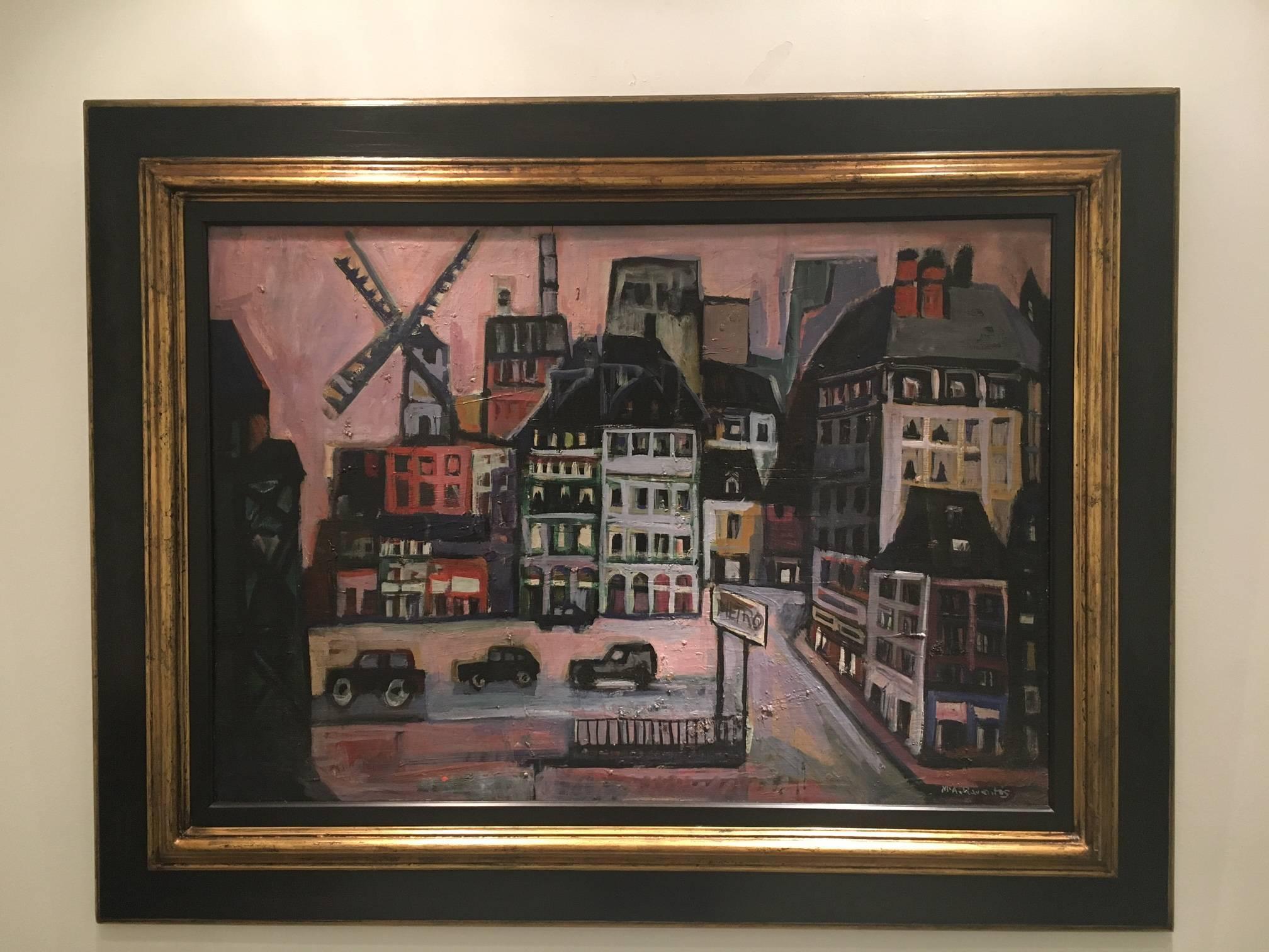 """MOULIN ROUGE. PARIS""-  original expressionist acrylic canvas painting - 1997"