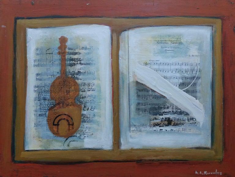 Music original expressionist acrylic painting - Painting by Maria Asuncion Raventos