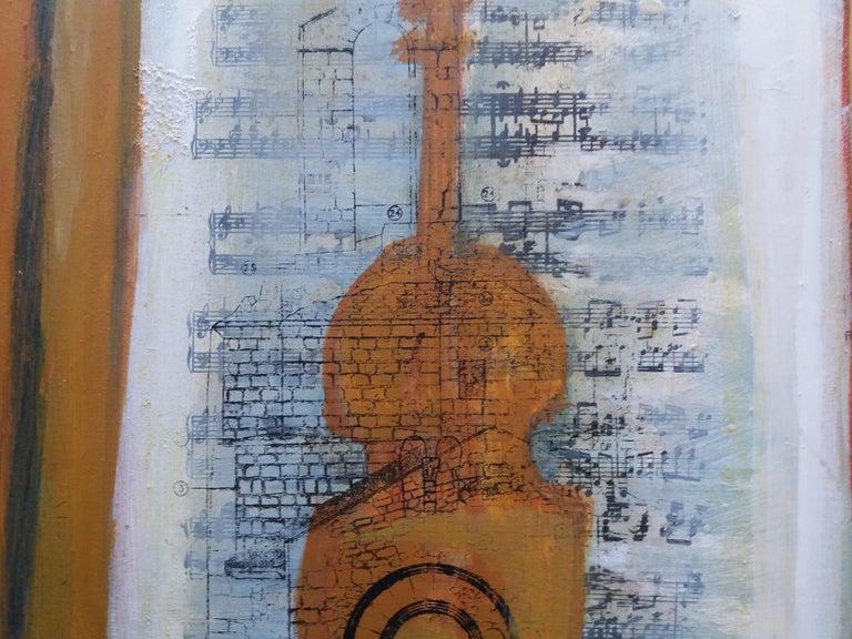 Music original expressionist acrylic painting. virtual frame RAVENTÓS Mª Assumpció – (San Sadurní d'Anoia, Barcelona 1930). Raventos trained at the elite Sant Jordi School of Fine Arts in Barcelona. Raventós expanded her studies in etching and