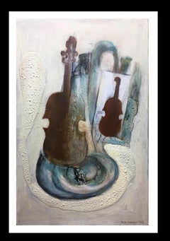 """""""Music"""" original expressionist mixed media painting"""