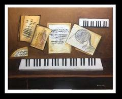 "Music seet"" original expressionist acrylic painting"