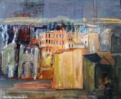 Paris original expressionist mixed media painting