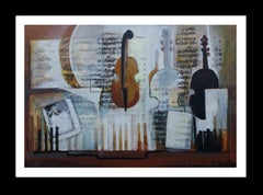 Partituras original expressionist acrylic paintig