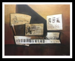 Piano and scores original expressionist acrylic canvas painting