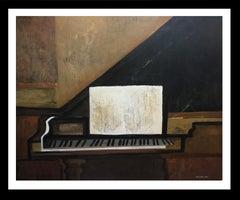 Piano and shett II original expressionist acrylic painting