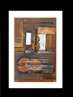 violin original expressionist acrylic  painting
