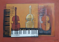 """""""Violines"""" original expressionist mixed media acrylic painting"""