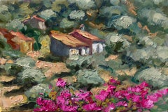 """Andalucia Bougainvillea"" Contemporary Impressionist Oil Painting of Spain"