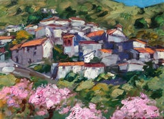 """Arenas Cherry Blossoms"" Contemporary Impressionist Oil Painting of Spain"
