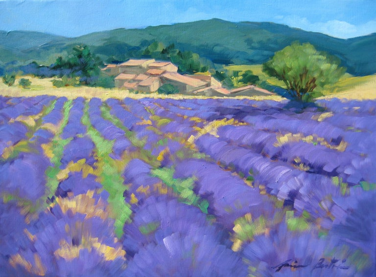 """""""Banon Plateau"""" is an exceptional oil painted on location in Provence by Maria Bertran, this Contemporary Impressionist landscape captures the beauty of Summer in the South of France.  Created en plein air and highlighting strong blues and greens"""