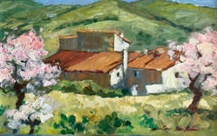"""El Pilar Almond Trees"" Contemporary Impressionist Oil Painting of Spain"