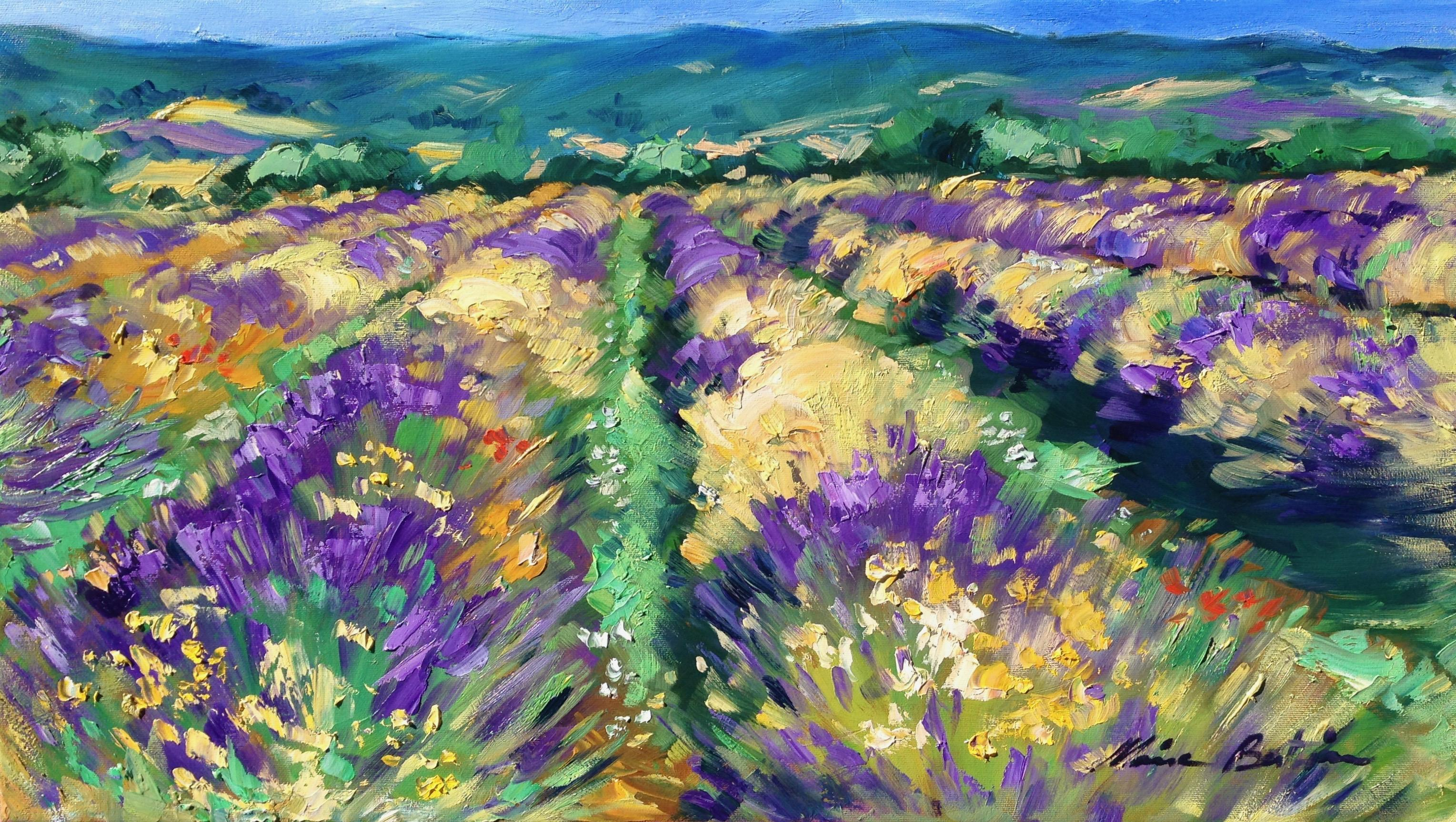 """""""High Plains Lavender"""" Contemporary Impressionist Oil Painting of Provence"""