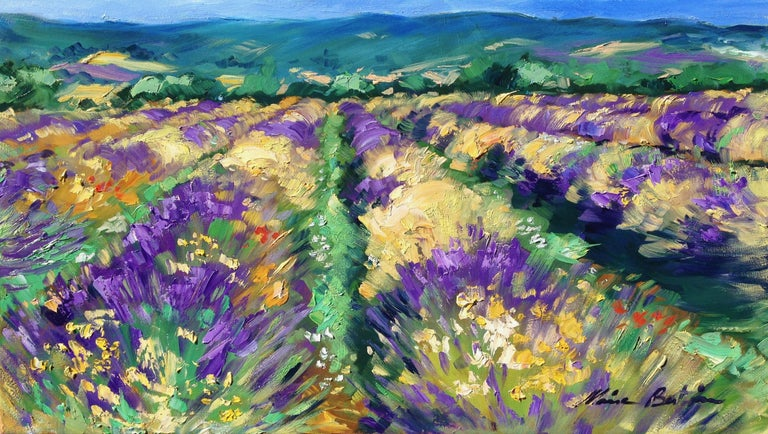 """Maria Bertan Landscape Painting - """"High Plains Lavender"""" Contemporary Impressionist Oil Painting of Provence"""