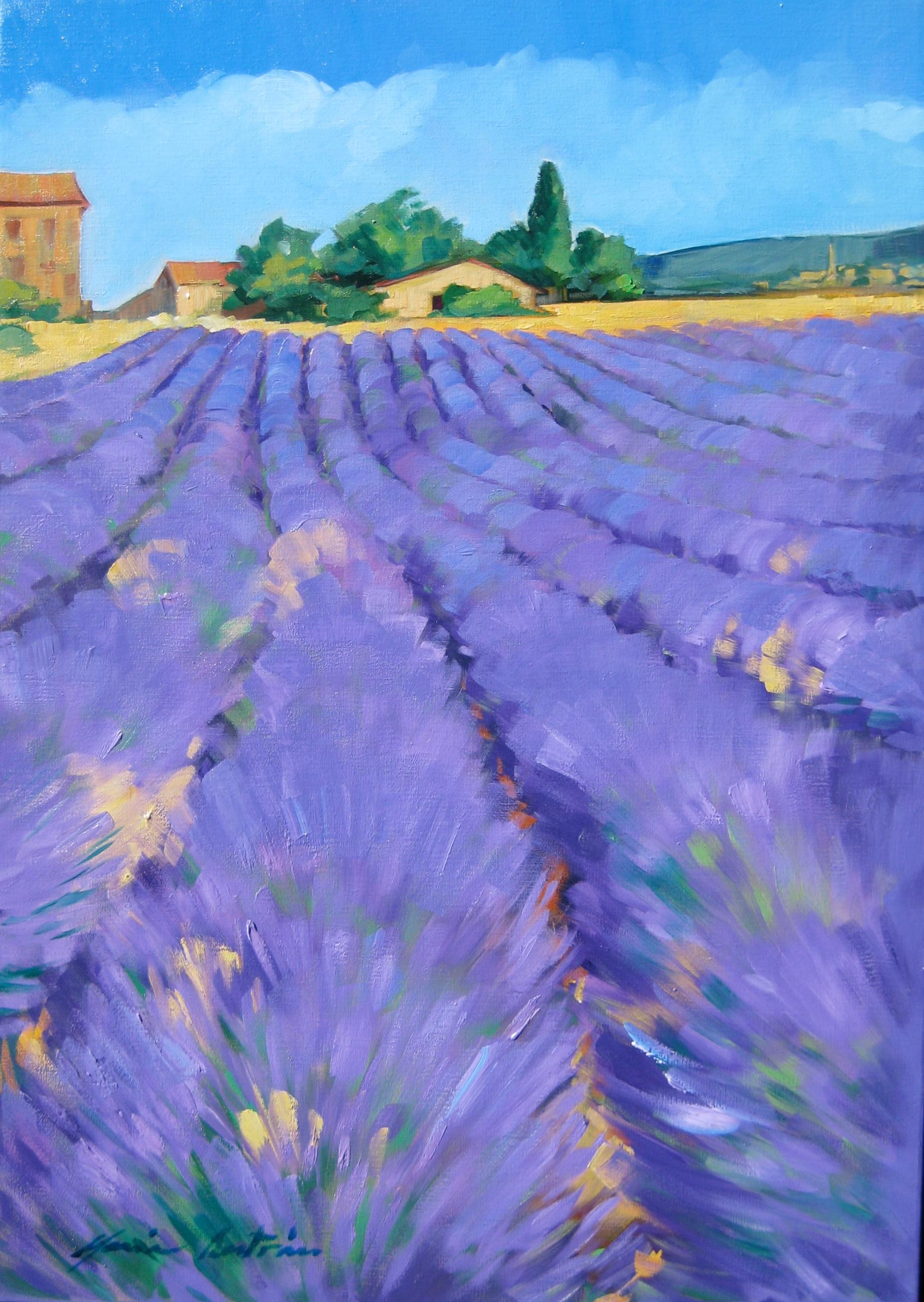 """""""Lavender Below Provence Farm"""" Contemporary Impressionist Oil Painting"""
