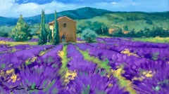"""Lavender In Bloom"" Contemporary Impressionist Oil Painting of Provence"