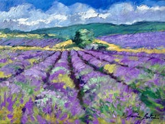 """""""Lavender On The Plateau"""" Contemporary Impressionist Oil Painting of Provence"""