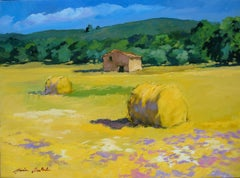 """""""Les Vieux Hay Rolls"""" Contemporary Impressionist Oil Painting by Maria Bertran"""