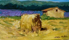 """""""Lone Hayroll With Lavender"""" Modern Impressionist Oil Painting In Provence"""