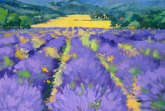 """""""Looking Over Lavender Fields"""" Modern Impressionist Oil Painting in Provence"""