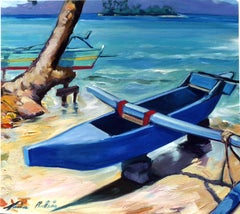 """""""Motu Outrigger"""" Contemporary Impressionist Oil Painting of Tahiti"""