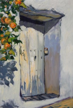"""""""Oranges By The Door,Andalucia"""" Contemporary Impressionist Oil Painting of Spain"""