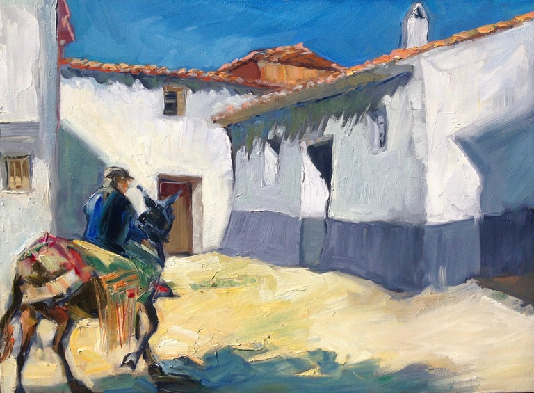 """Maria Bertan Landscape Painting - """"Plaza In Arenas"""" Contemporary Impressionist Oil Painting of Spain"""