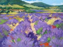 """""""Rochegiron Lavender Field"""" Contemporary Impressionist Oil Painting of Provence"""