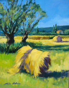 """""""Sault Hay Rolls"""" Contemporary Impressionist Oil Painting by Maria Bertran"""