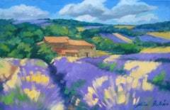 """""""Sloping Lavender Fields"""" Contemporary Impressionist Oil Painting, Maria Bertran"""