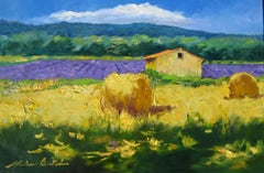 """""""St. Christol Hay Rolls"""" Contemporary Impressionist Oil Painting In Provence"""
