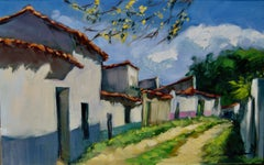 """Alley In Calla""  Modern Impressionist Oil Painting of Spain"