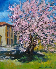 """""""Almond Tree In Redons""""  Modern Impressionist Oil Painting of Provence"""