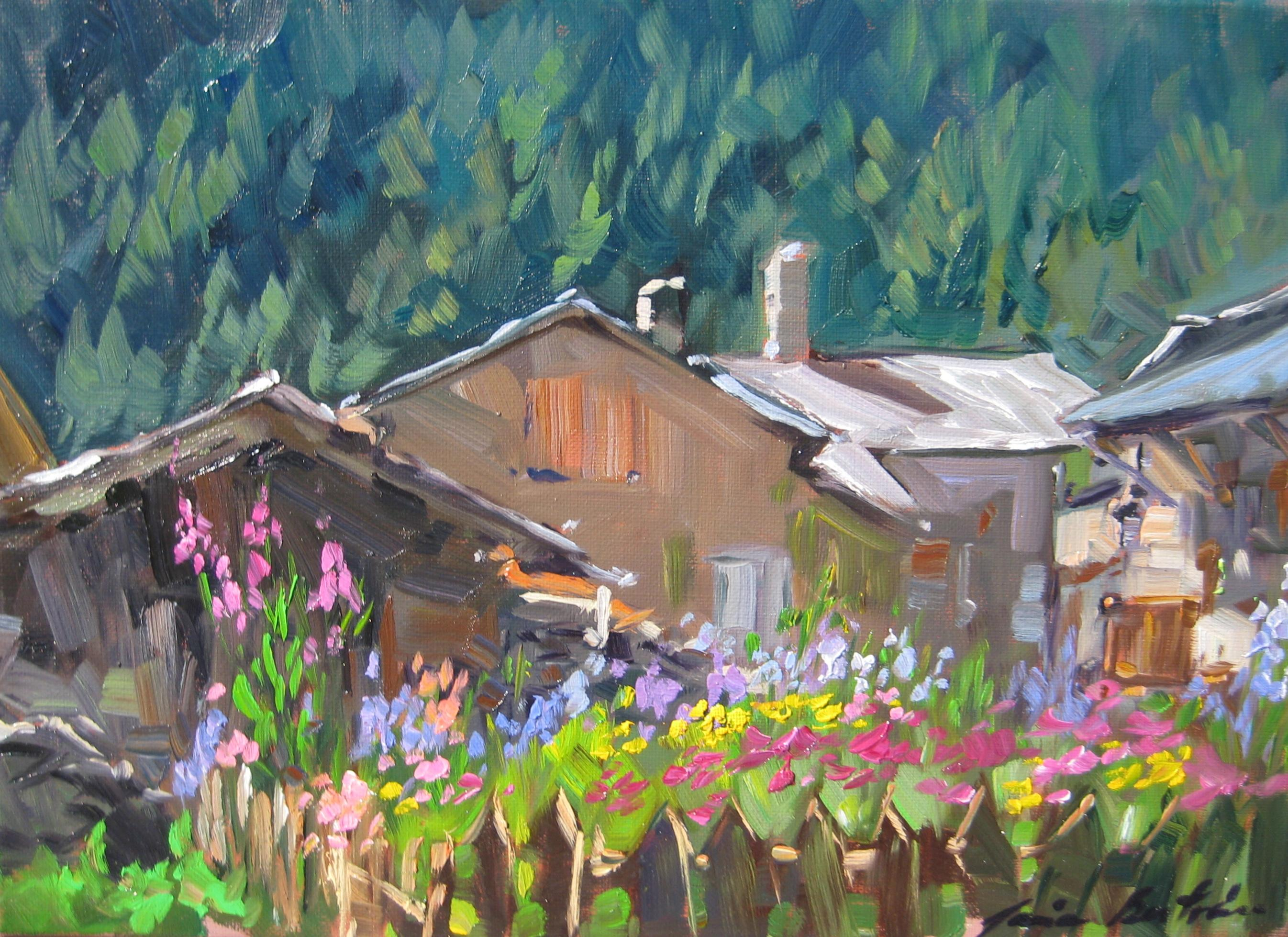 """""""Alpine Fence With Flowers In Bloom""""  Impressionist Oil by Maria Bertran"""