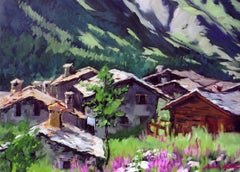 """Alpine Village Light""  Modern Impressionist Oil Painting in the French Alps"