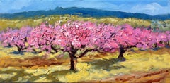 """Apricot Blossoms In The Field""  Modern Impressionist Oil Painting of Spain"