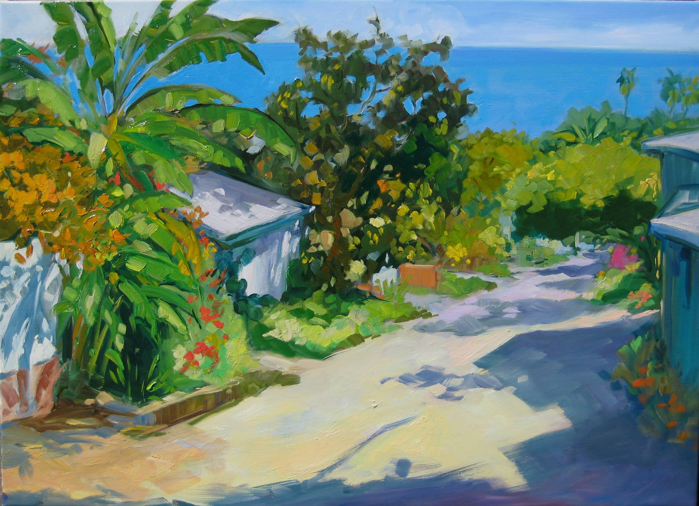 """Banana Alley"" Contemporary Impressionist Tropical Street, Oil by Maria Bertran"