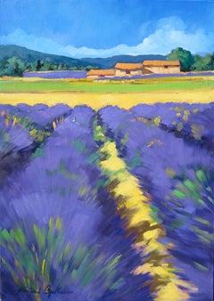 """""""Banon Lavender Field """" Contemporary Impressionist Oil,Provence by Maria Bertran"""