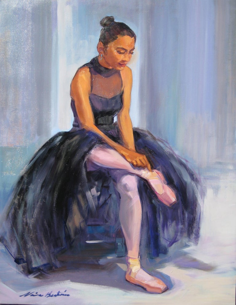 """Maria Bertran Landscape Painting - """"Before The Dance"""" Large Impressionist Figure Oil Painting of Ballerina"""