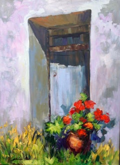 """""""Blue Door Shadows""""  Contemporary Impressionist Oil Painting of Provence"""