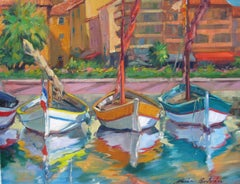 """Boats In Bandol,"" Impressionist Oil Of French Riviera Boats by Maria Bertran"