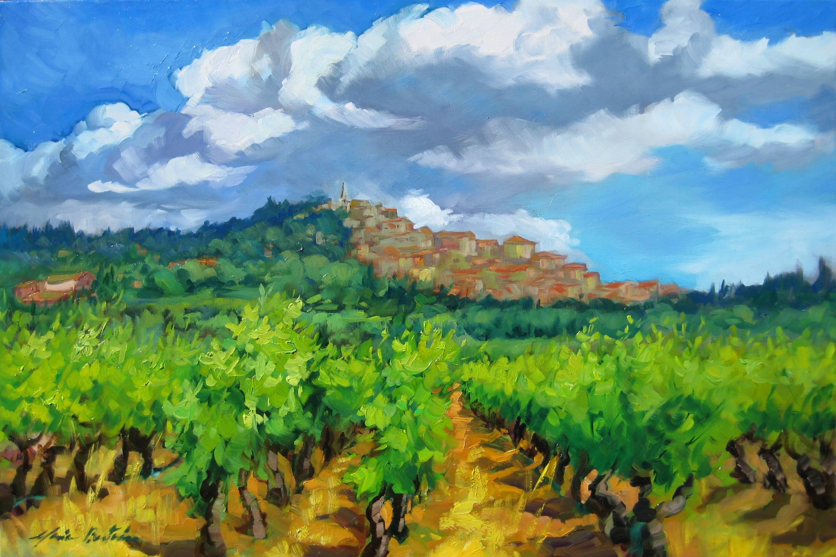 """""""Bonnieux Vineyard """" Contemporary Impressionist Oil, Provence by Maria Bertran"""