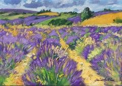 """Bright Lavender Fields In Ferrasier"" Contemporary Impressionist Oil of Provence"