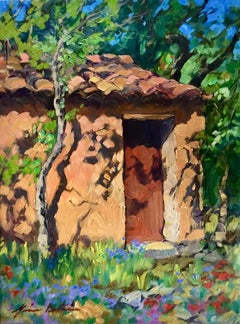 """Cabanon In The Forest"" Contemporary Impressionist Oil of Provence"