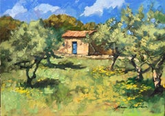 """Cabanon In The Olive Grove"" Contemporary Impressionist Oil of Provence"