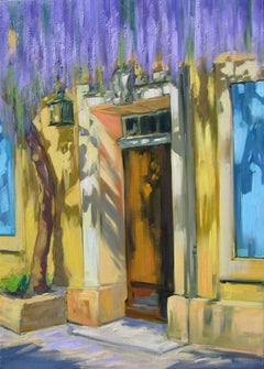 """Cascading Wisteria Over The Doorway"" Impressionist Oil by Maria Bertran"